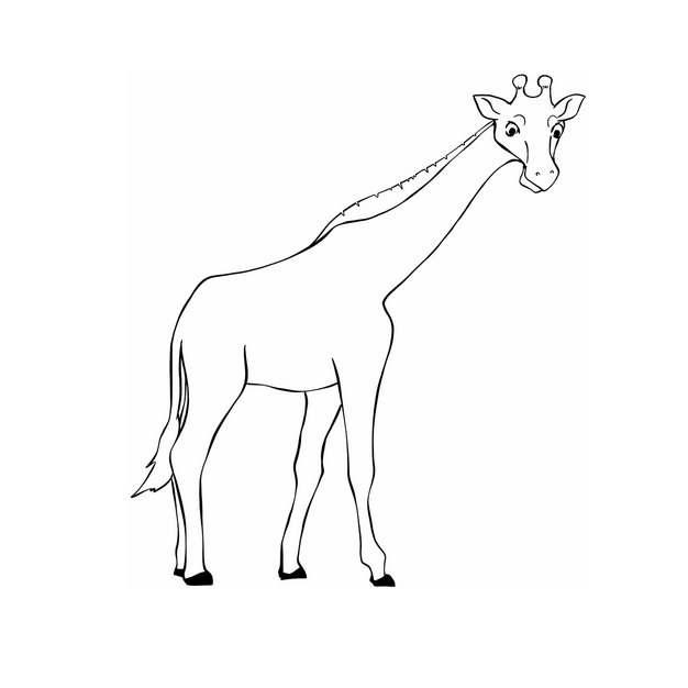 手绘线条风格行走的长颈鹿2736630png图片免抠素材