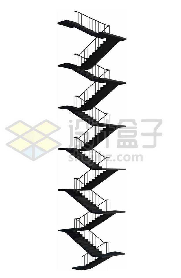 黑色的楼梯剪影逃生梯7030558图片免抠素材