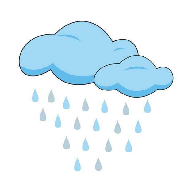 蓝色卡通云朵和雨点6551529png图片免抠素材