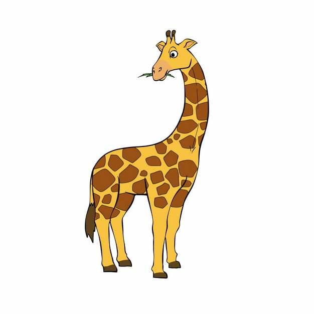 站着吃树叶的卡通长颈鹿彩绘动物2692947png图片免抠素材