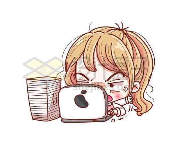 超可爱正在用笔记本电脑的卡通女孩3489576png图片免抠素材