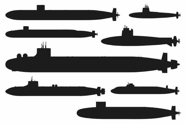 八款核动力潜艇剪影6081093EPS图片免抠素材