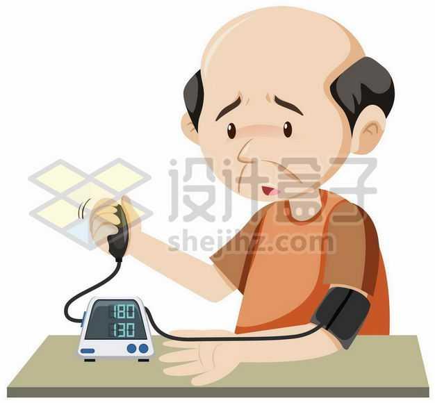 卡通老人使用电子血压计测量高血压3293291png图片免抠素材