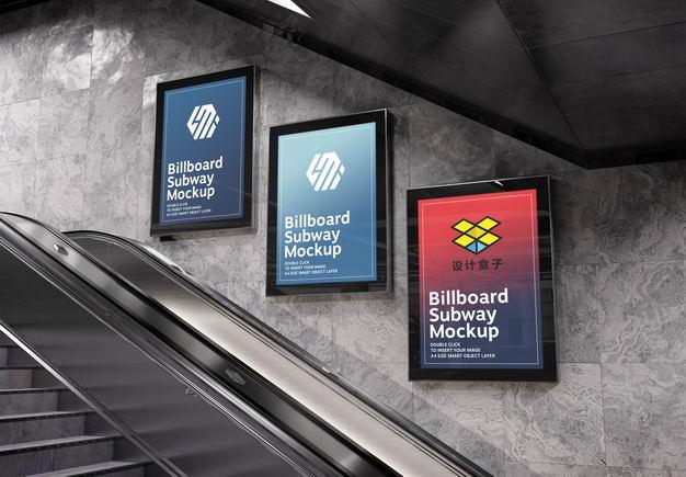 地下通道自动扶梯旁的广告牌样机模板4075497PSD图片素材 样机-第1张