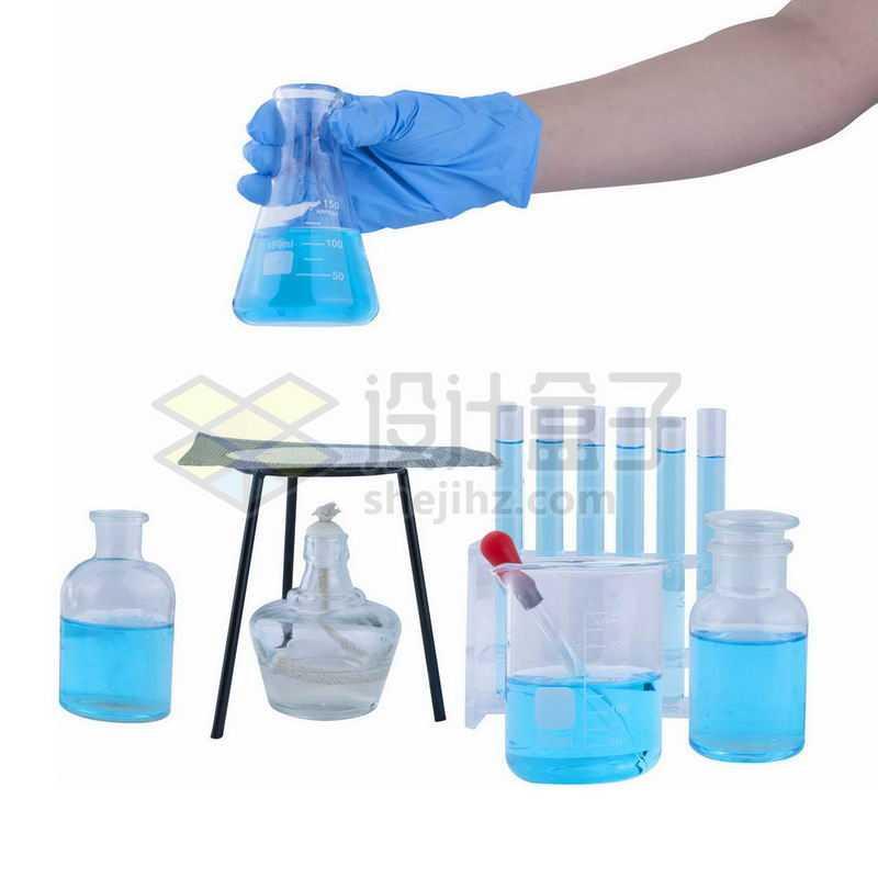 装有蓝色液体的广口瓶酒精灯石棉网滴管烧杯试管等化学实验仪器8107595png图片免抠素材