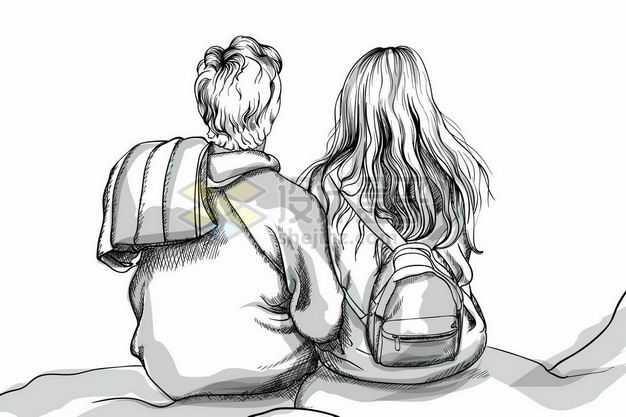 坐在一起的男孩女孩情侣背影情人节铅笔手绘插画2720733png图片免抠素材