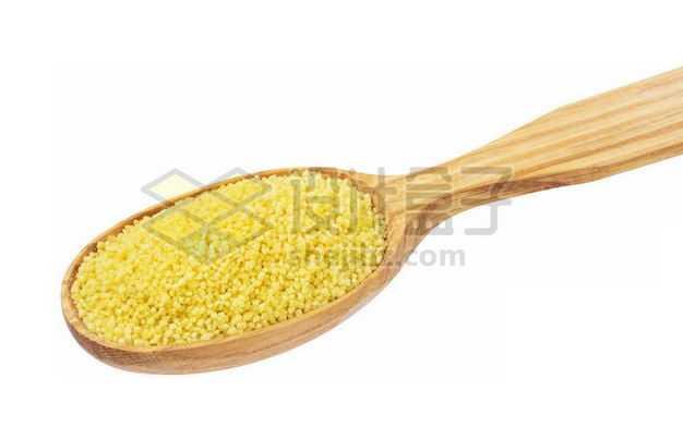 木头勺子里的黄米黄小米红谷小米月子米五谷杂粮粗粮美味美食7511745图片免抠素材