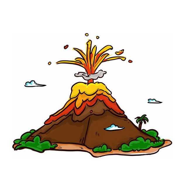 手绘风格卡通火山喷发出岩浆8713738png图片免抠素材