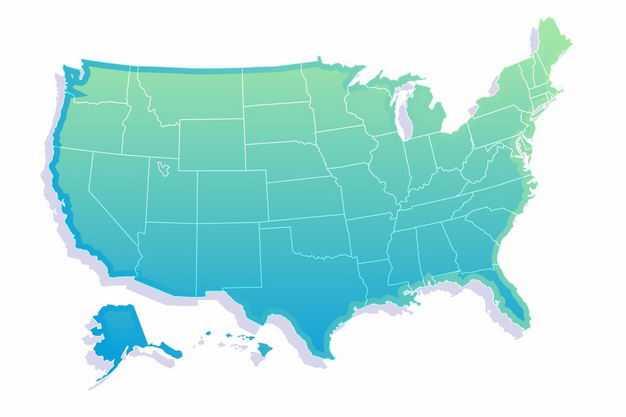 绿色带阴影3D立体美国地图4329513png图片免抠素材