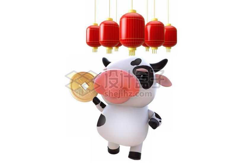 牛年卡通小牛拿着铜钱和红灯笼新年春节氛围7432408图片免抠素材