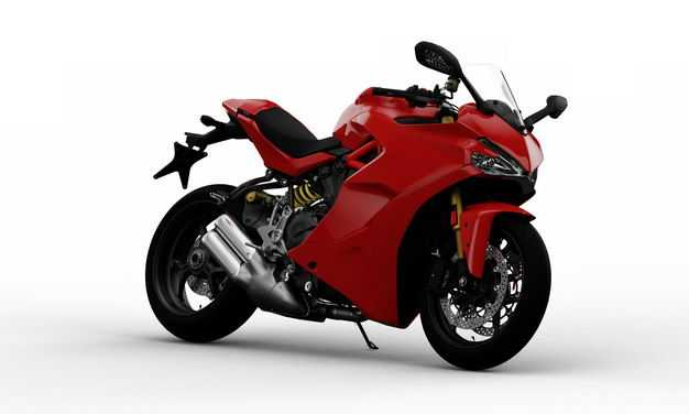 支撑起来的红色运动摩托车右前方视角3022356PSD图片素材