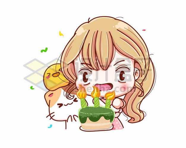 过生日吃蛋糕吹蜡烛的超可爱卡通女孩3017170png图片免抠素材