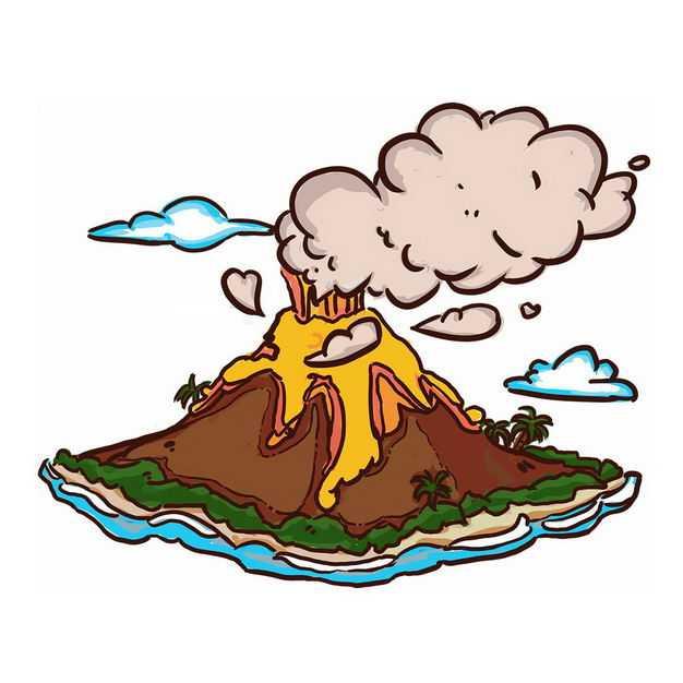 手绘风格卡通火山爆发后产生的火山灰和熔岩9923445png图片免抠素材