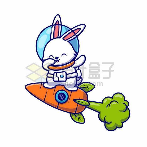 卡通兔子宇航员站在胡萝卜火箭4583536png图片免抠素材
