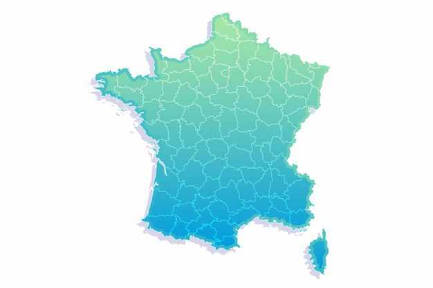 绿色渐变色带阴影3D立体法国地图8048325png图片免抠素材