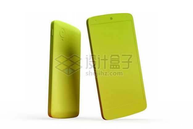 3D立体绿色手机正反面模型3479168图片免抠素材