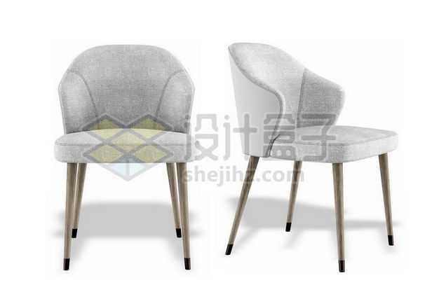两个不同角度的灰色靠背椅子餐椅书房家具1586765PSD图片免抠素材
