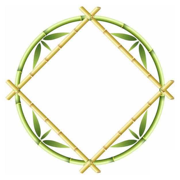 竹竿竹叶竹子组成的方形圆形边框1674907png图片免抠素材