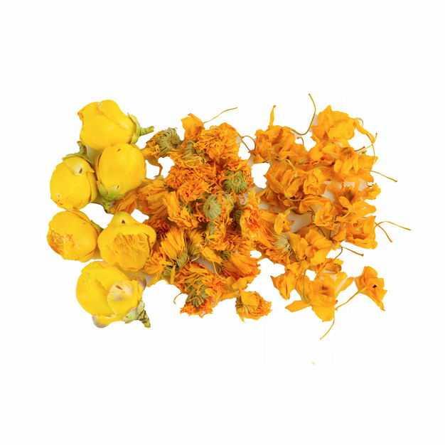 一小堆黄玫瑰花茶金盏花合欢花茶等养生花茶645338png图片免抠素材