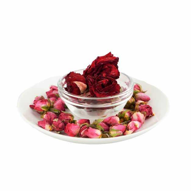 白色盘子和玻璃碗中的玫瑰花茶牡丹花茶等养生花茶424986png图片免抠素材