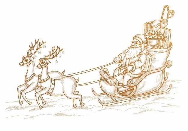 圣诞老人驾驶着驯鹿拉的圣诞车手绘插画3499747EPS图片免抠素材