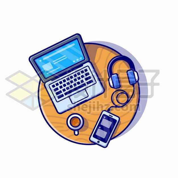 MBE风格圆桌上的笔记本电脑咖啡杯手机和耳机5011657png图片免抠素材