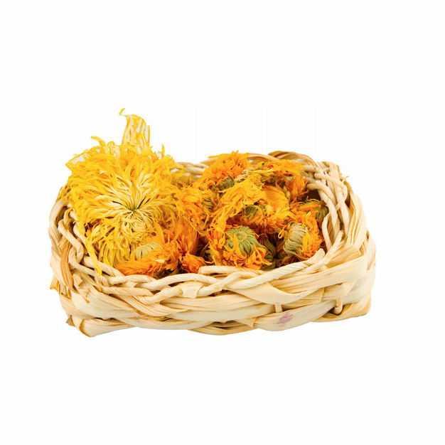 竹篮中的金盏花金丝皇菊等养生菊花茶648118png图片免抠素材