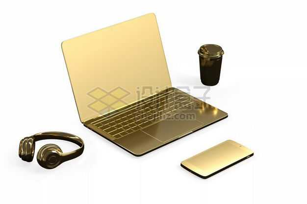 3D立体金色黄金笔记本电脑手机耳机和咖啡杯模型5097033图片免抠素材