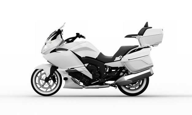 3D立体白色重机车公路摩托车运动摩托车左侧视角5287581png图片免抠素材