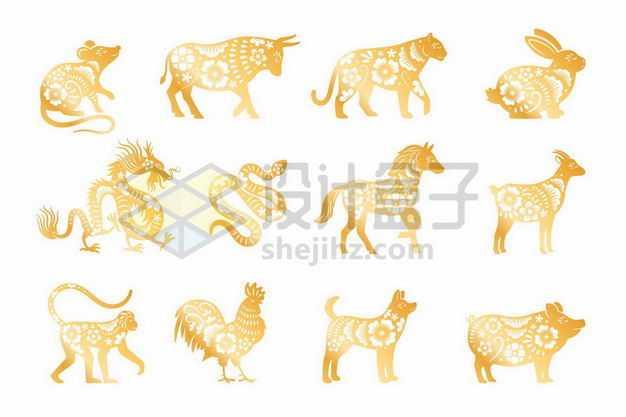 金色剪纸风格中国传统十二生肖图案8704826png图片免抠素材