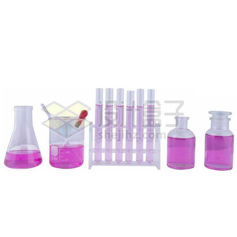 红色液体的锥形瓶和玻璃广口试剂瓶烧杯滴管试管等化学实验仪器5200796png图片免抠素材