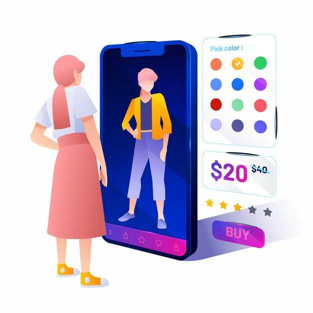 少女在手机淘宝APP上选购衣服扁平插画6982715png图片免抠素材