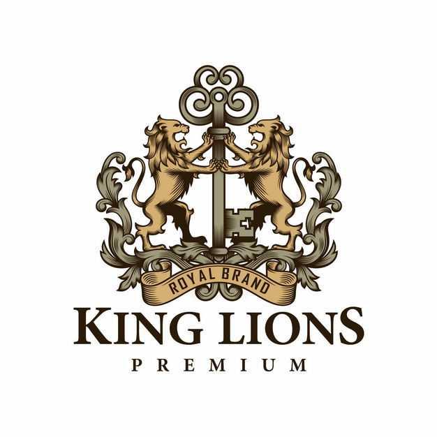 复古风格两只狮子纹章古代贵族标志徽章9480337EPS图片免抠素材