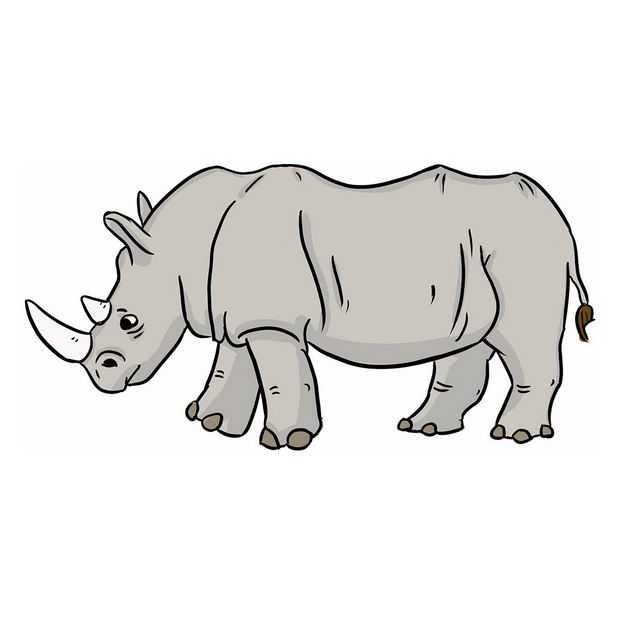手绘风格的卡通白犀牛野生动物8425885png图片免抠素材