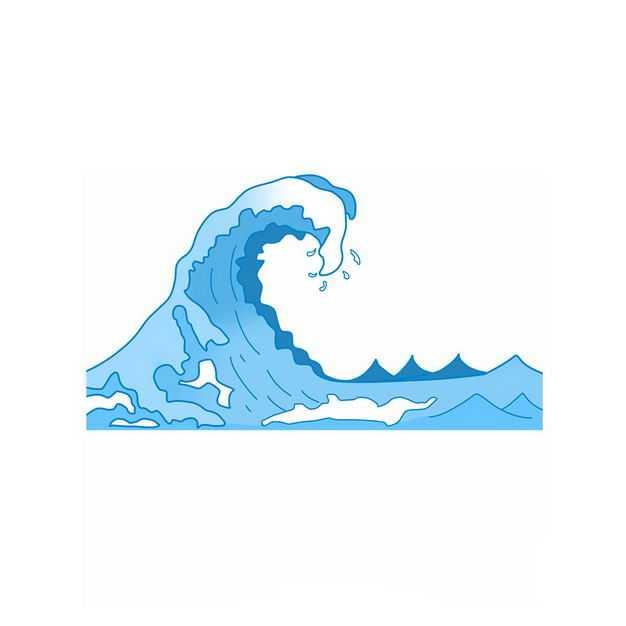 手绘风格蓝色浪花波浪图案259552png图片免抠素材