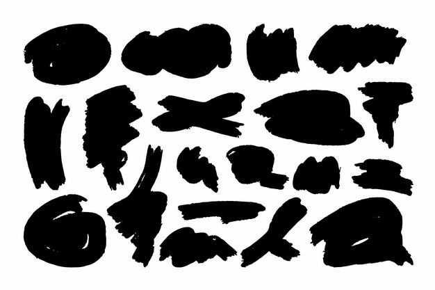 各种黑色的涂鸦线条装饰4234531png图片免抠素材