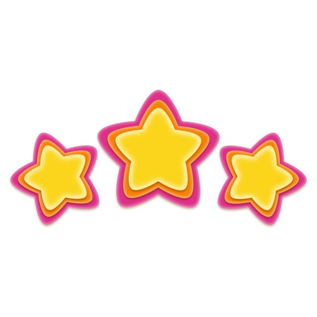 卡通彩色五角星三星好评8632552png图片免抠素材 装饰素材-第1张