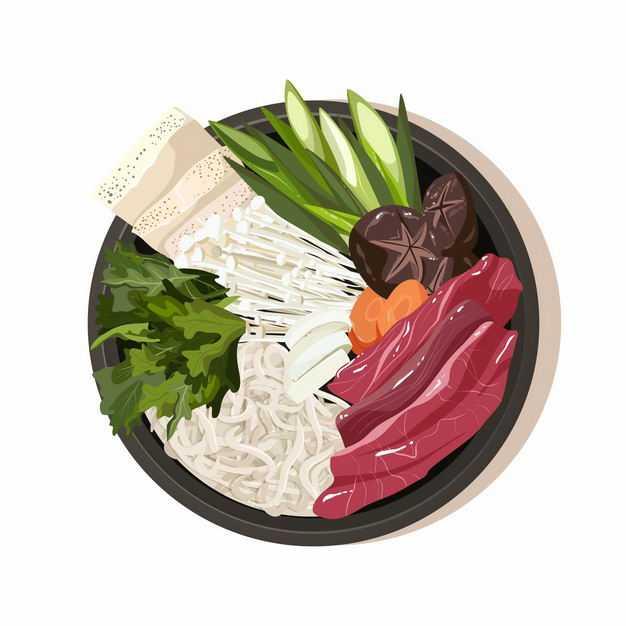 牛肉香菇面条生菜等砂锅美味美食2214738png图片免抠素材