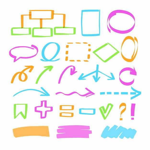 各种彩色涂鸦手绘风格方向箭头对话框思维导图虚线条数字运算符号1570320png图片免抠素材