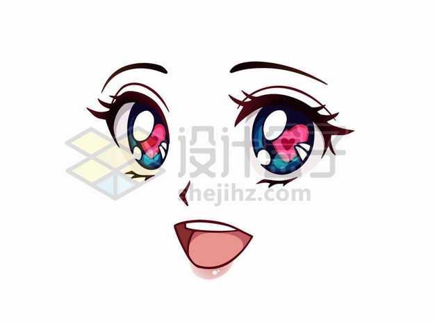 眼睛里有爱心犯花痴的可爱大眼睛卡通美女动漫脸漫画风格二次元表情包6645105png图片免抠素材