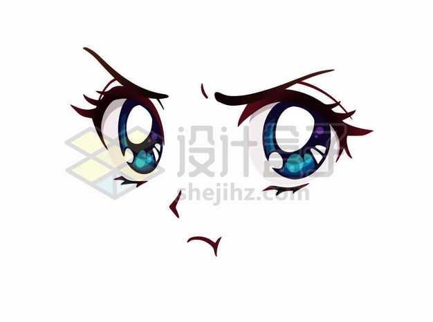 愤怒的可爱大眼睛卡通美女动漫脸漫画风格二次元表情包2544273png图片免抠素材
