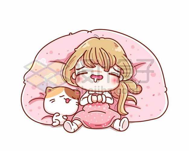 超可爱卡通女孩和猫咪躺在懒人沙发上睡觉1595315png图片免抠素材