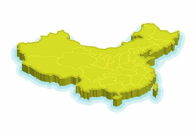 亮绿色3D立体中国地图3113055png图片免抠素材