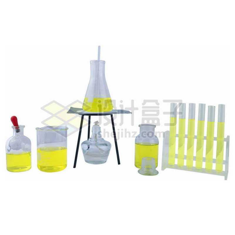 酒精灯石棉网上的锥形瓶和玻璃广口试剂瓶烧杯滴管试管等化学实验仪器6479103png图片免抠素材