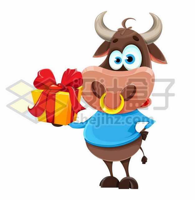 叉腰的卡通小牛手上的礼物盒牛年插画4340953png图片免抠素材