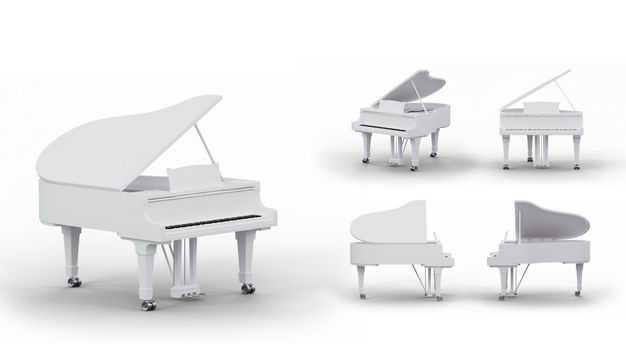 3D立体白色钢琴模型的五个不同角度6845997PSD图片素材