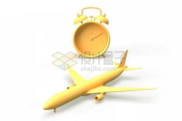 3D立体黄色闹钟和大型客机飞机模型5204519图片免抠素材