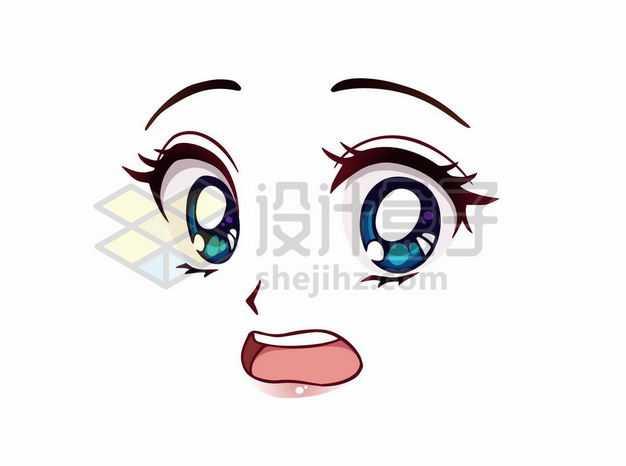 紧张害怕的可爱大眼睛卡通美女动漫脸漫画风格二次元表情包3836373png图片免抠素材