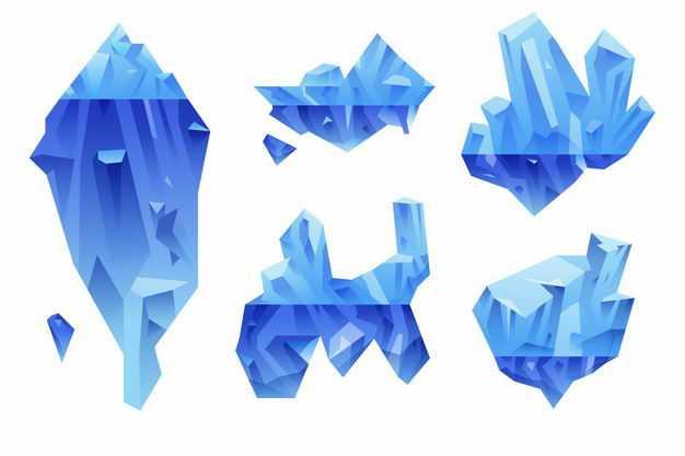 五款蓝色南极北极冰山浮冰水面和水下部分2595459EPS图片免抠素材