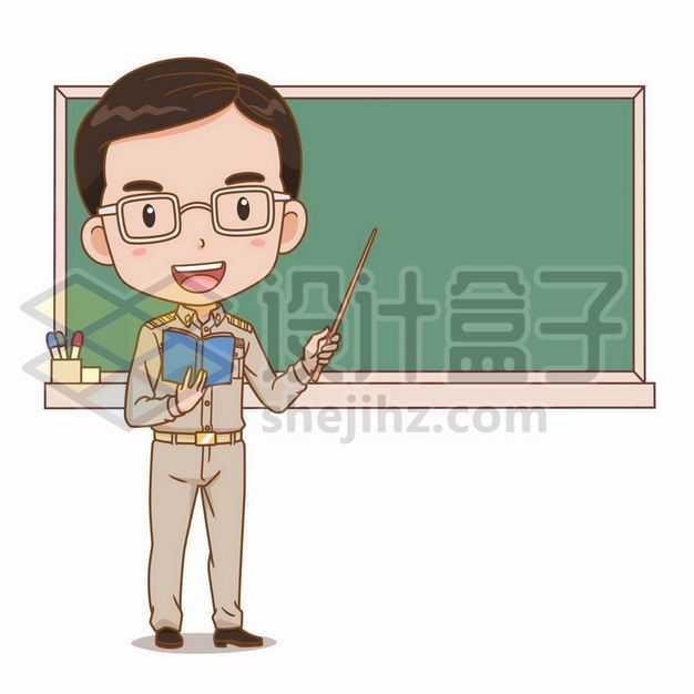 卡通男老师在黑板前讲课卡通教师形象5478094png图片免抠素材